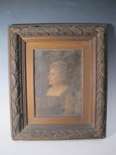 Antique oil on canvas portrait painting, unsigned