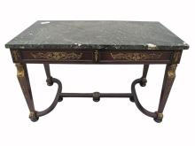 Antique French empire ormolu and marble table