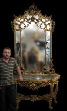 Huge antique palatial gilt French console table & mirror