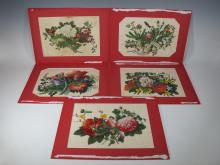 Vintage set of 5 paintings over silk, high quality