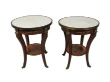 Pair of French Louis XV style marble top tables