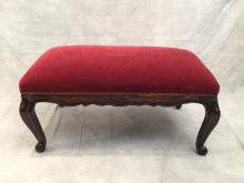 French Louis XV Style Red Velvet Upholstery Banquette