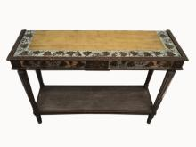 French Louis XVI gilt-leaf patinated walnut console table