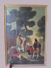 Huge Antique European oil on canvas painting