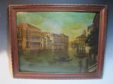 Antique Italian oil on metal Venice view painting