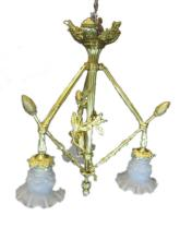 Old French bronze & glass chandelier