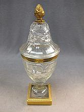 French glass & bronze urn