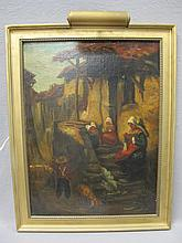 19th C. European oil on canvas painting