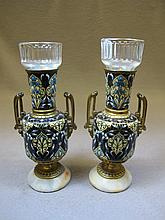 Antique pair of bronze champleve urns