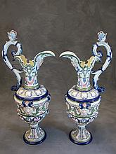Old Pair of Eichwald, English Majolica pitchers