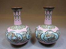 Antique pair of Chinese cloisonet vases