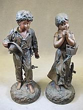 Antique pair of French spelter statues