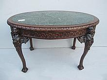 Antique English carved mahogany oval table