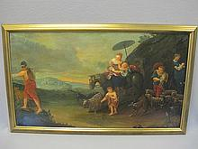 19th C European oil on canvas painting