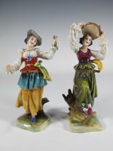 Antique pair of Capodimonti porcelain statues