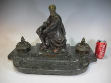 Antique French bronze and marble inkwell