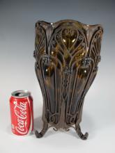 Louis MARJORELLE style molded glass & iron vase
