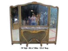 Antique French Louis XV patinated vanity with mirrors