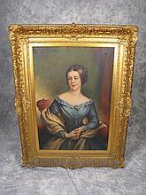 Antique oil on canvas portrait painting
