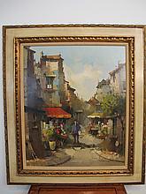 Antique oil on canvas cityscape painting, CORDIER