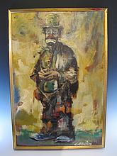 Oil on canvas clown painting, COOLEY ?