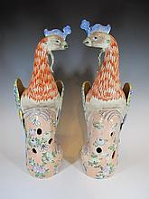 Antique Chinese pair of peacock porcelain statues