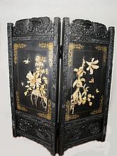 Antique Japanese carved and inlaid ivory screen