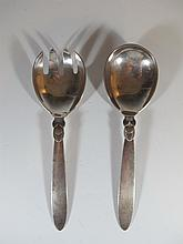 Georg JENSEN, Cactus pattern silver fork & spoon