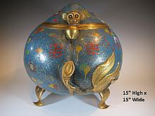 Huge and rare Chinese cloisonne incense burne