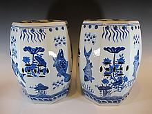 Antique pair of Chinese porcelain stools