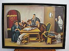 Oil on canvas jewish painting, signed