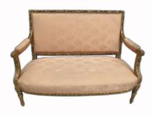 Antique French Louis XVI gilt walnut sofa
