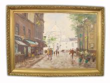 Oil on Canvas cityscape Painting Signed Robert