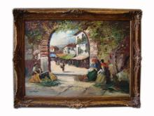 Antique oil on canvas cityscape painting
