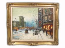 Old European Oil on Canvas Cityscape Painting