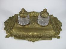 French bronze & glass inkwell