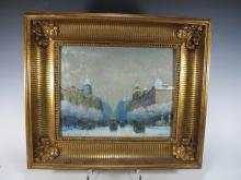 Antique French oil on wood painting, circa 1900