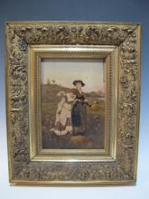19th C. German oil on board painting, dated 1879