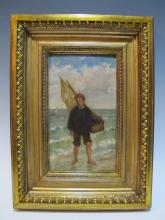 19th C. French oil on wood painting, unsigned