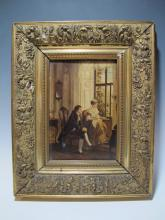 19th C. French school oil on board painting, unsigned