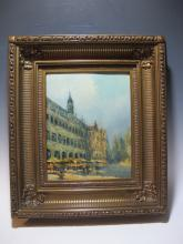 Antique French oil on board painting, circa 1920
