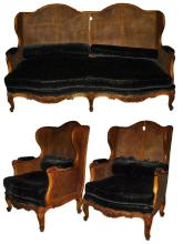 19th Century Three-Piece Provincial Louis XV Double Cane Salon Set