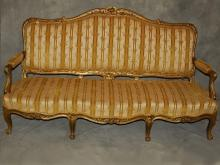 19th c. Louis XV style giltwood carved sofa
