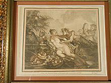 18th Century Hand Colored Etching In Marbelized Frame
