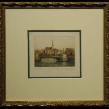 Decoratively Framed Small Hand Colored Etching Of Bridge