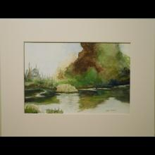 1960's Plein Air Watercolor Of Pond