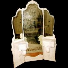 French Mirrored Vanity Tri-Fold Etched Carved 19th Century Unusual