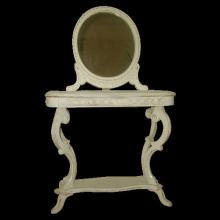 Vanity Table Mirror Set French Carved Early 1900's