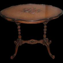 Maple Side Table Birds Eye C.1905 Hand Painted