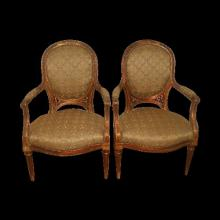 French Gilt Wood Chairs C.1850 Newly Upholstered